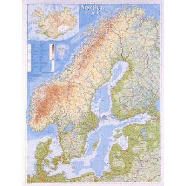 Kort Over Norden Kort Lyse Farver Nord