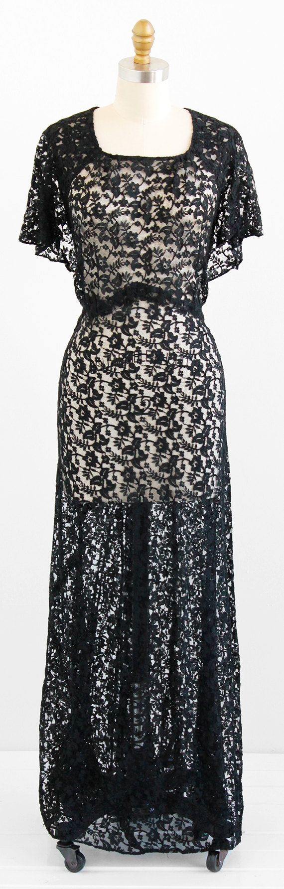 Vintage s dress xl plus size x black lace evening gown with
