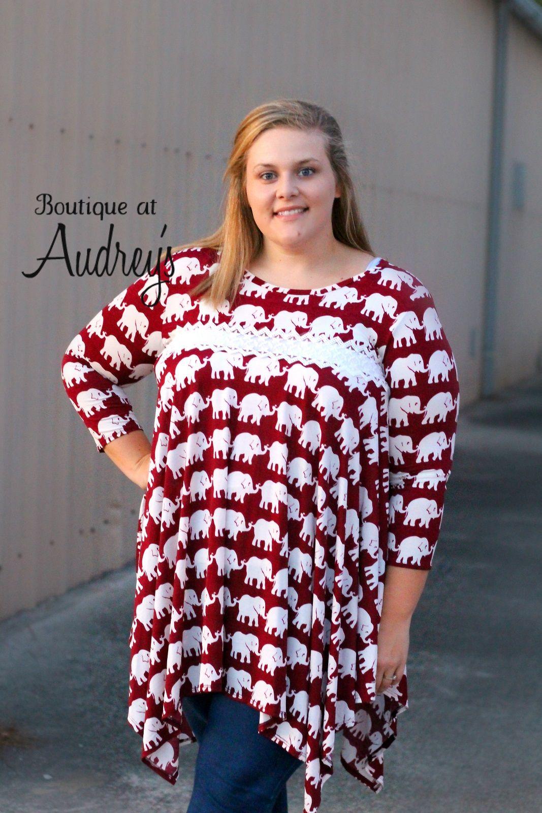 dc62bd1ee48 Crimson Elephant Print Gameday Asymmetrical Tunic Dress with Sheer Lace  Detail  alabama  bama  rolltide  rtr  gameday