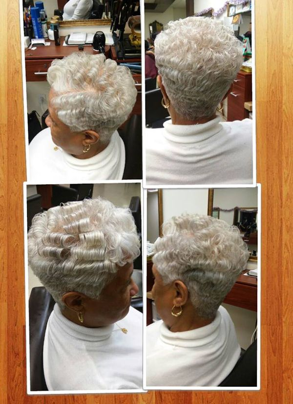 rocking short gray hair