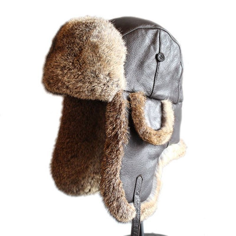 0c4bbff5c60 Men s Vintage Rabbit Fur Leather Aviator Hat Russian fur Hat Ushanka Trooper  Hat  Unbranded  AviatorHat