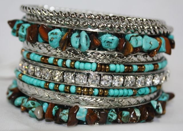 Silver, Turquoise Chip, Brown Chip, & Crystal Bangle Set  $14.95  http://www.giddyupglamouronline.com/catalog.php?item=4639
