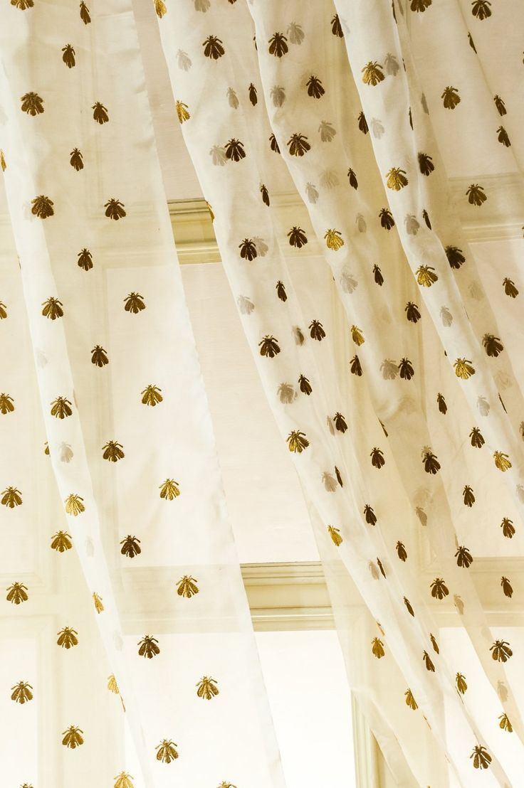 Bee Embroidered Silk Sheer Organza Curtain X Home Kitchen