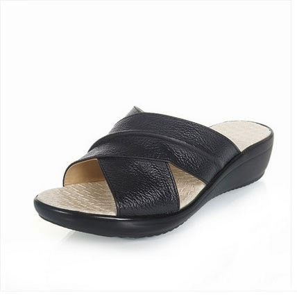 Women's Slip-Resistant Casual Leather Wedge Sandals 4 Colors