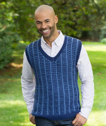 Men\'s Mosaic Vest Free Knitting Pattern from Red Heart Yarns | New ...