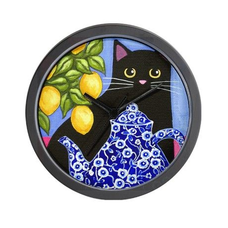 Black CAT Blue Calico Teapot  Lemons Wall Clock