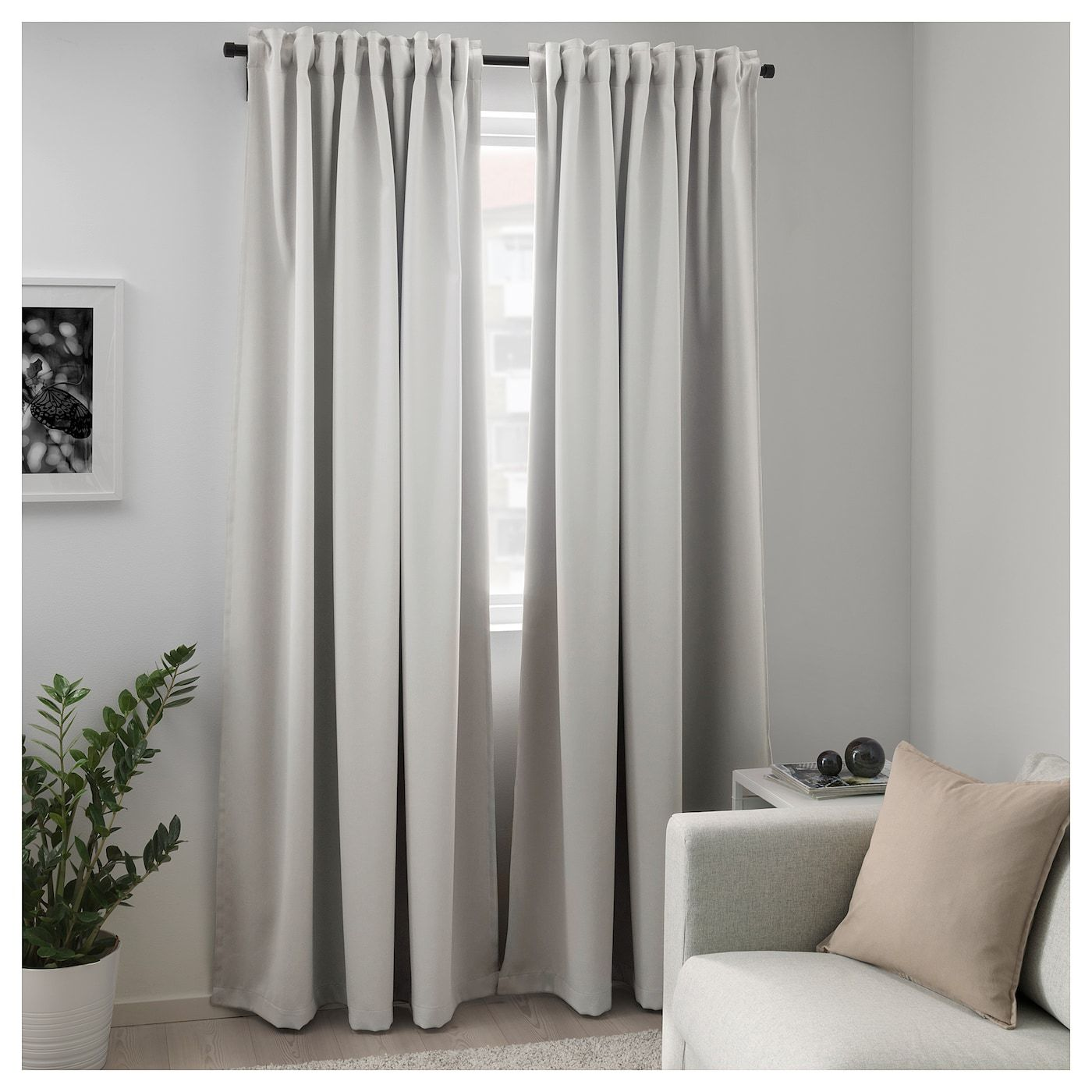 Majgull Room Darkening Curtains 1 Pair Light Gray 57x98 Ikea Block Out Curtains Room Darkening Curtains Curtains With Blinds
