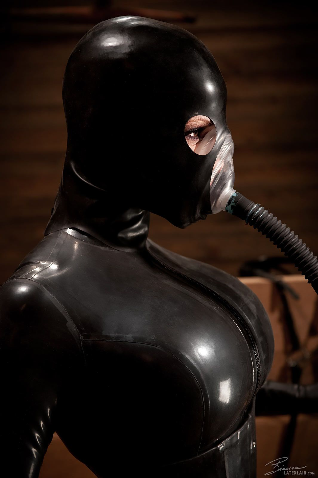 Charming message fetish hood leather mask rubber