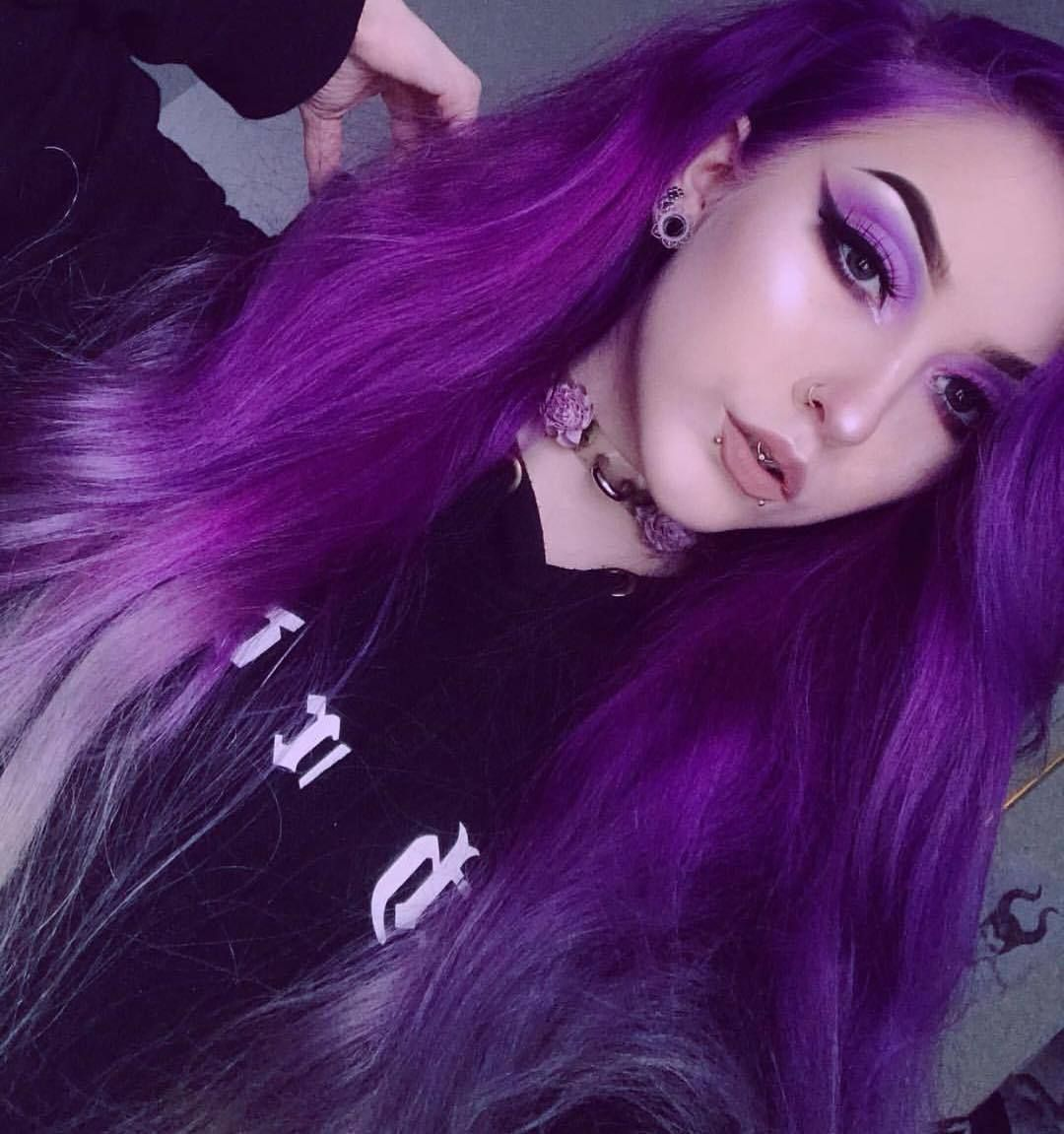 Purple Hair Tumblr Purple Hair Tumblr Hair Inspiration Color Purple And Green Hair
