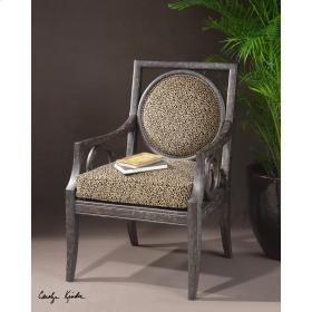 """Uttermost 23048 Channing, Armchair: Classic, plush animal print self-decked with removable cushion, accented by brass nails and framed in hand rubbed, weathered black finish. Constructed in solid white mahogany with double doweled, reinforced joinery. Seat height is 21"""". http://keyhomefurnishings.com, Lake Oswego, Oregon."""