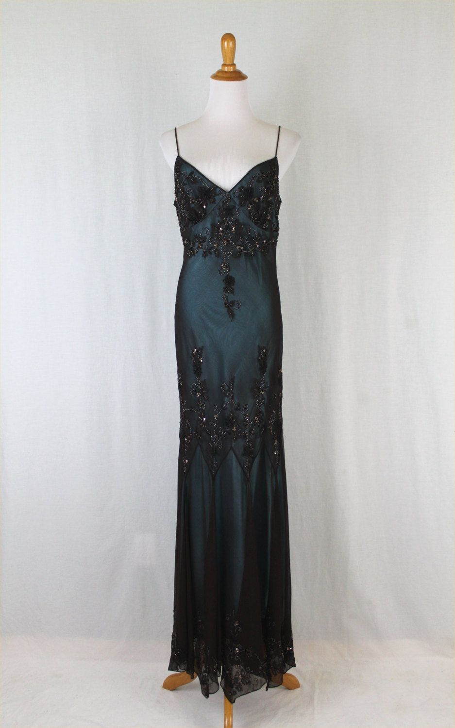 Pinterest flapper wedding dresses 1920s style and adrianna papell - Adrianna Papell Silk Sequined Beaded Flapper Gatsby Deco Dress Gown M