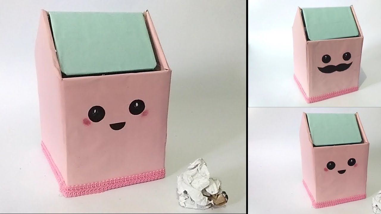 How To Make Cute Trash Bin From Cardboard Waste Material Craft