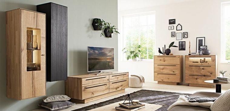 Idea arredamento salotto con mobili di legno pareti for Salotto mobili