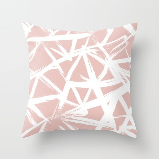 Modern White Abstract Geometric Hand Painted Brushstrokes Pale Blush Pink Blush Pink Throw Pink Throw Pillows Blush Pillows