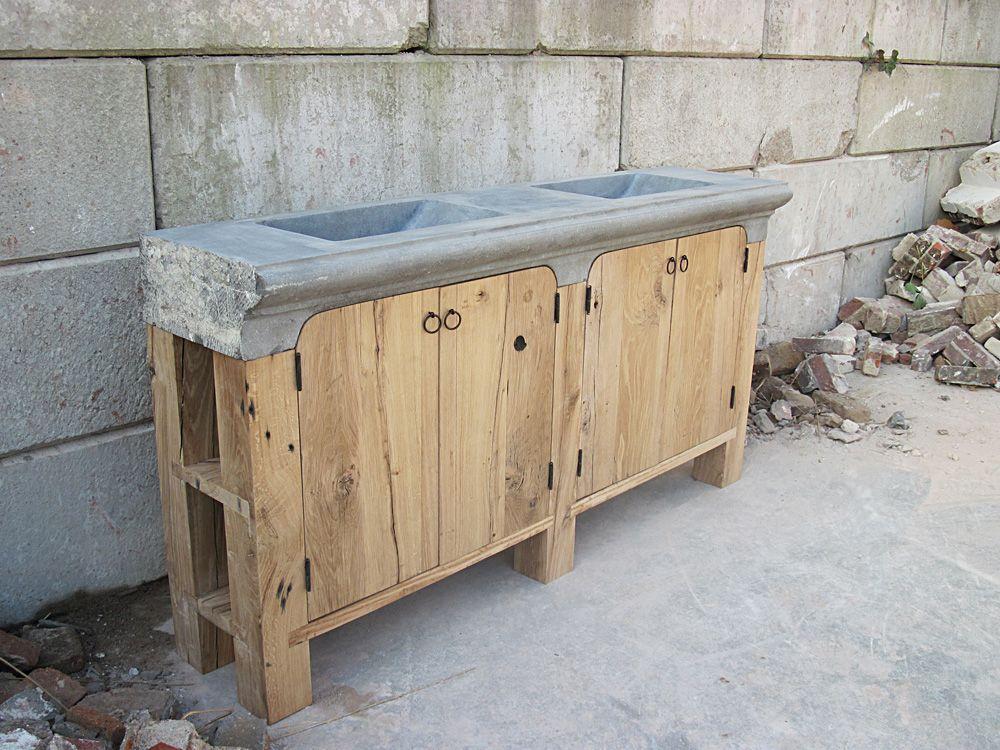 Meubel oud eiken oud hardstenen raamdorpel oude for Badkamermeubels hout