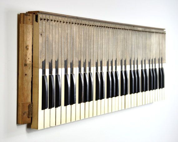 Lovely Vintage Piano Keys Wall Hanging • Wall Decor • Musical Wall Art  JT85