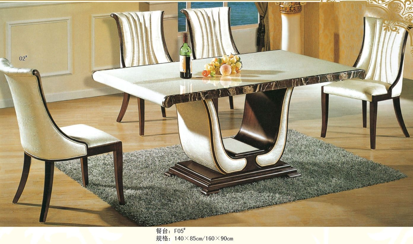 Luxury italian style furniture marble dining table 0442 for Dining table set latest design