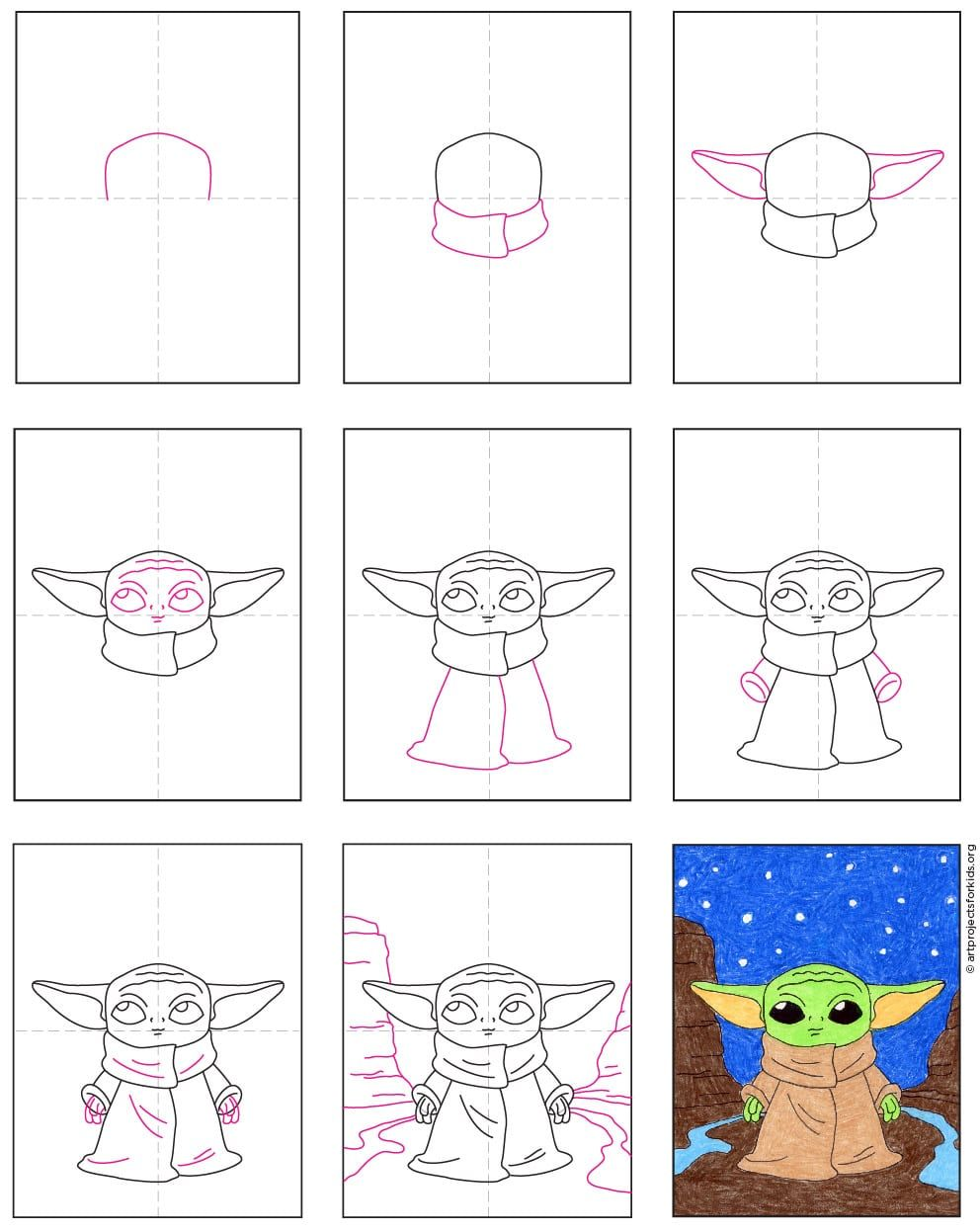 Draw Baby Yoda In Space Art Projects For Kids Star Wars Art Drawings Easy Doodle Art Space Art Projects