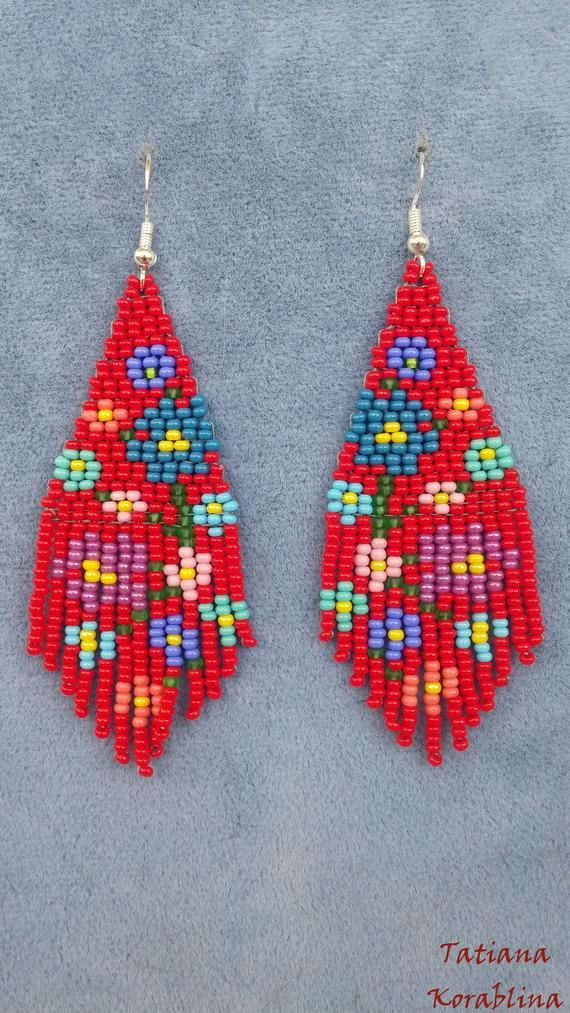Boucles d'oreilles de l'auteur unique avec abstrait floral imprimé perlé boucle d'oreille Native rocaille perle boucles d'oreilles chandelier Boho boucle d'oreille frange rouge