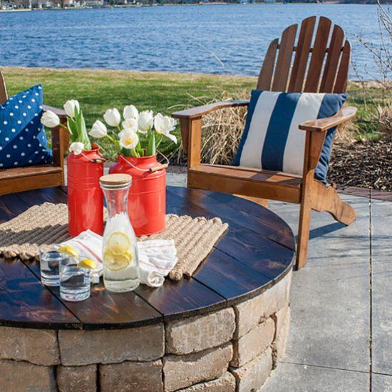 Turn your fire pit into a table with this diy project via the derrik might keep kids out of firepit when not in use diy fire pit table top the lilypad cottage solutioingenieria Choice Image