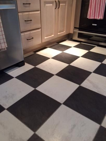 Innovations Black And White Chess Slate Laminate Flooring 5 In
