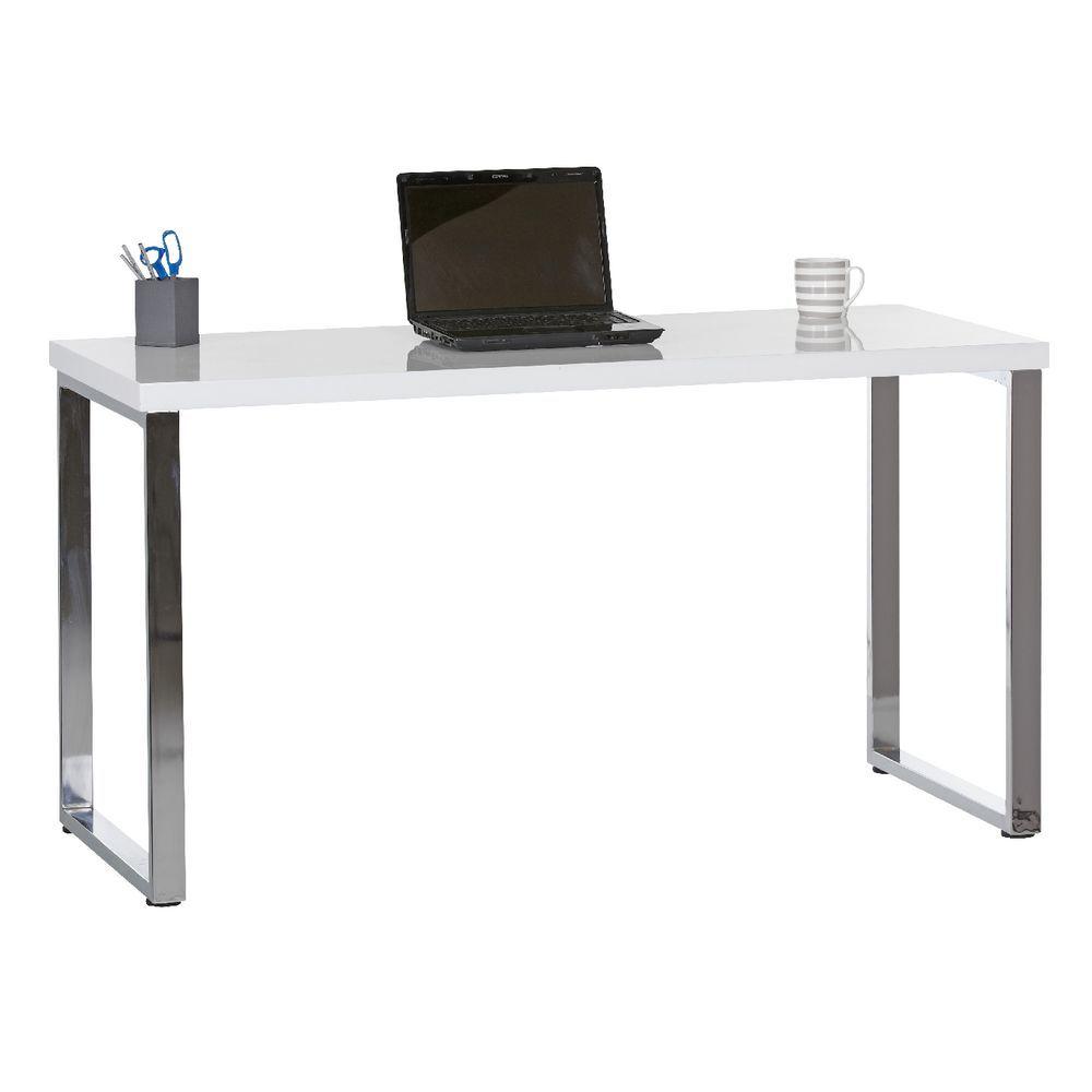 Contour Loop Leg Desk White And Chrome High Gloss Desk Best Home Office Desk Home Office Furniture Desk