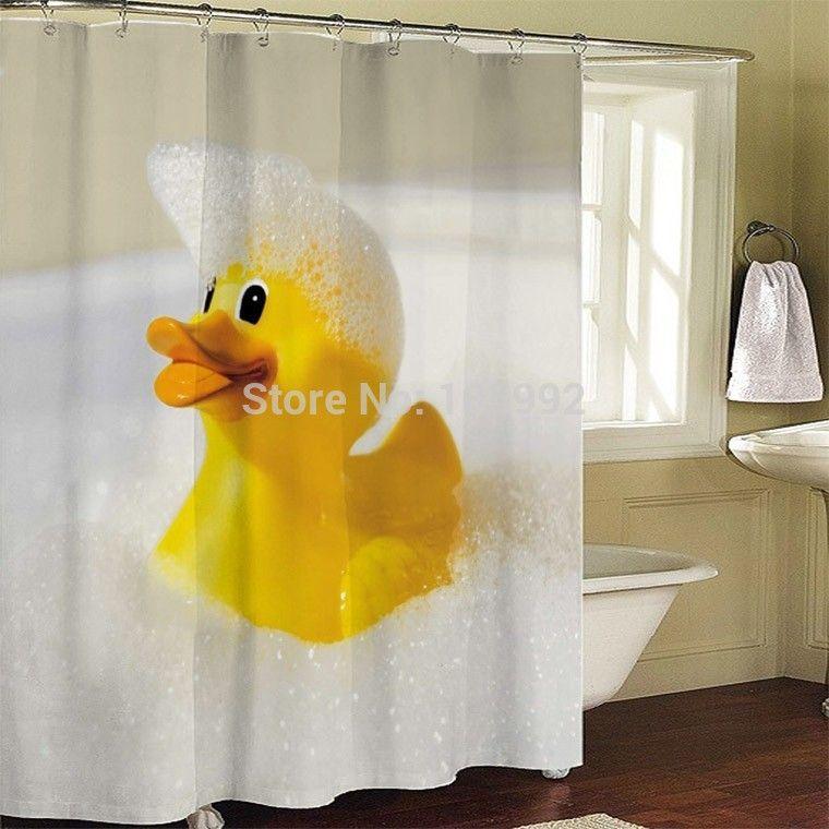 Rubber Duck Bathroom Fabric Shower Curtain Bath Screen Waterproof W Hooks