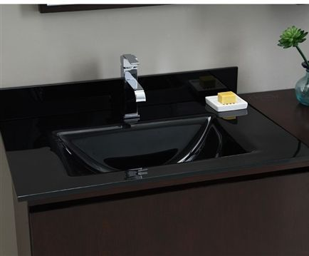 Xylem Black Glass Vanity Top With Integrated Rectangular Bowl