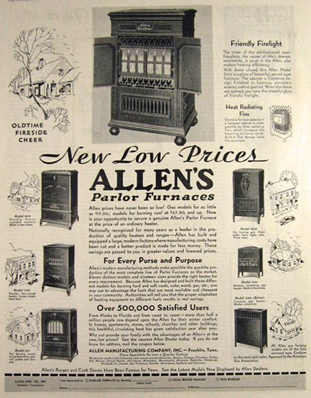 1931 Allen S Parlor Furnace Ad Vintage Hardware Paint Ads Vintage Advertisements Vintage Ads Old Ads