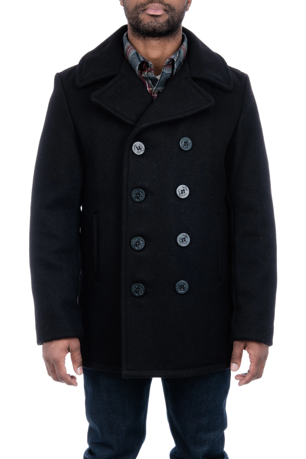 Classic Melton Wool Navy Pea Coat Navy pea coat, Coat, Wool
