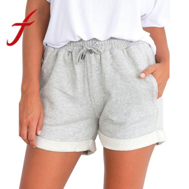 Fashion Women Ladies Comfy Drawstring Casual Print Elastic Waist Pockets Shorts