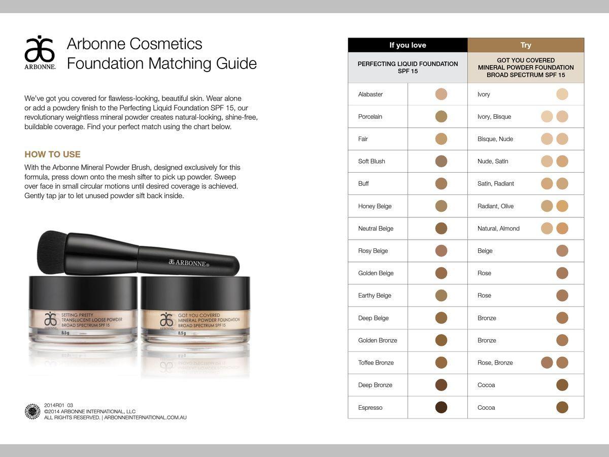 Liquid & mineral powder match Arbonne cosmetics, Arbonne