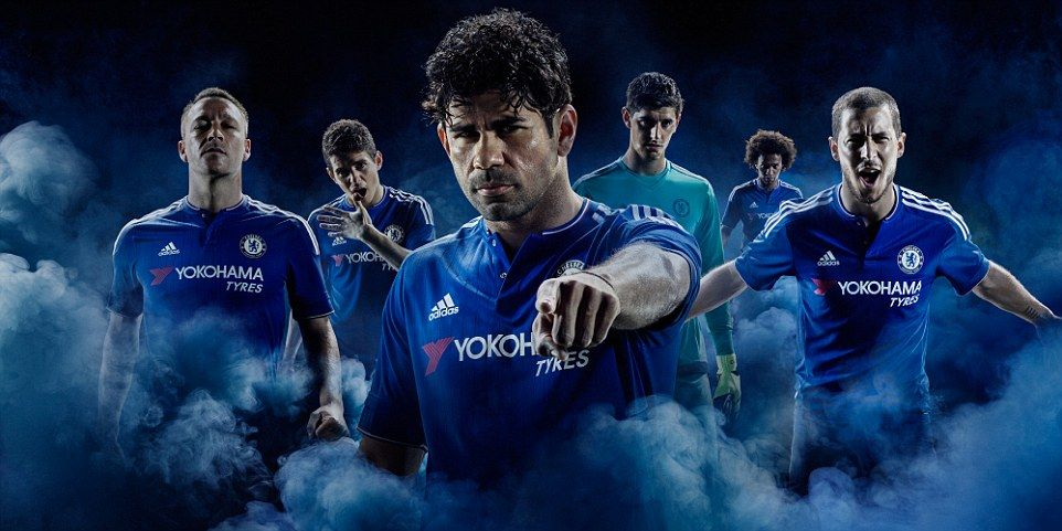 John Terry, Oscar, Diego Costa, Thibaut Courtois, Willian and Eden Hazard in the new Chelsea home kit