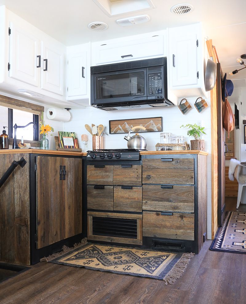 DIY reclaimed wood kitchen cabinets  Space saving kitchen