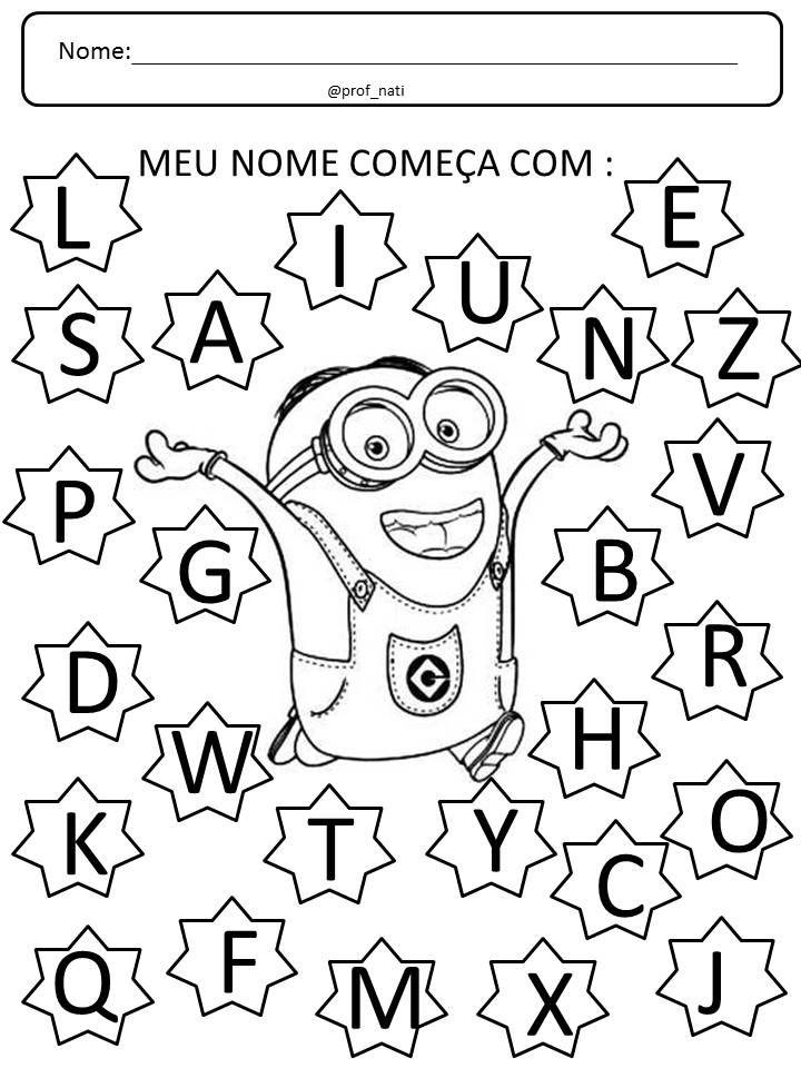 f71fbc3e3 Atividade feita para encontrar a primeira letra do nome. Pode pintar ou  marcar com uma bolinha de papel. Para mais dicas acesse o insta  prof nati