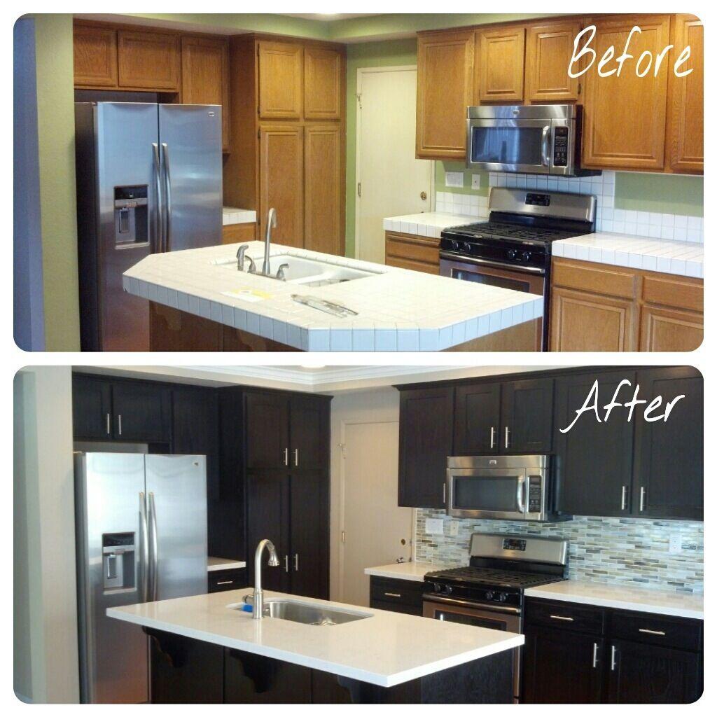 Kitchen Remodel Ventura: Kitchen Remodel. Silestone Lagoon. Dark Cabinets