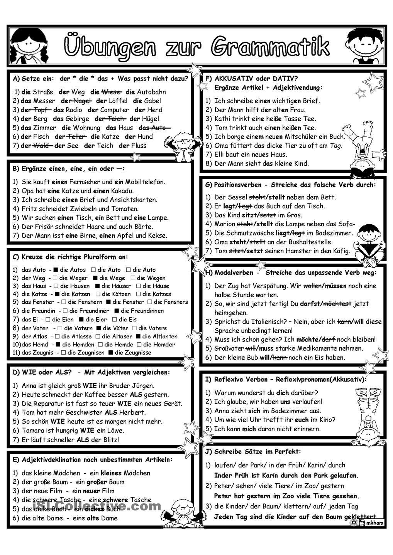 Grammatik_Ãœbung&Wiederholung 2 | nemčina | Pinterest | German ...