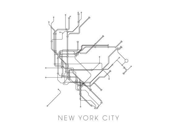 New York Subway Map Print New York Metro Map Poster