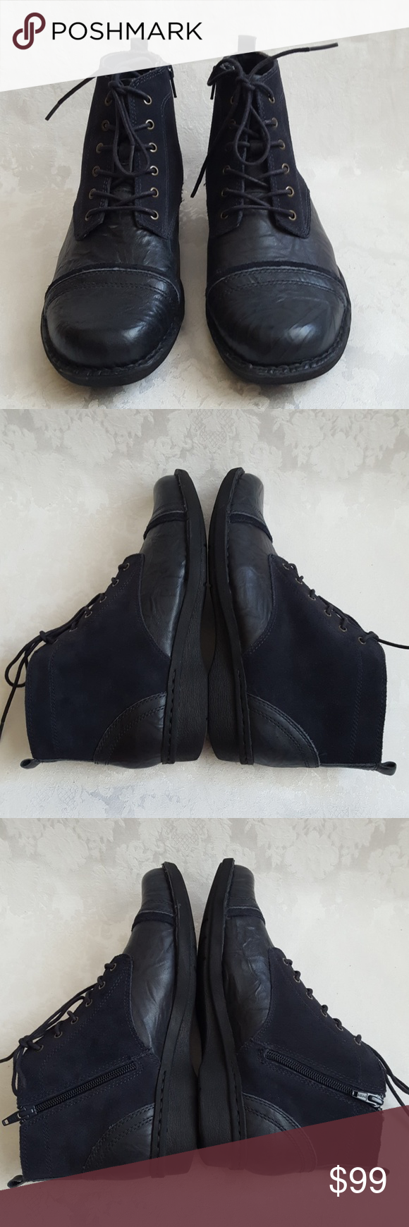 Clarks Shoes | Black Leather Lace Up Fashion Sneaker Nwot