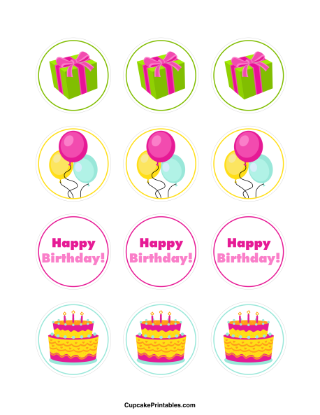 Happy Birthday cupcake toppers. Use the circles for ...