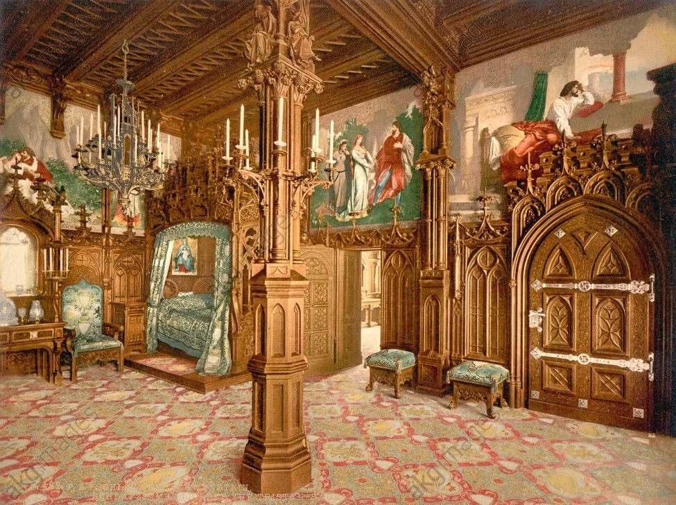 Gothic Schlafzimmer ~ Early colour photograph of neo gothic interior at schloss