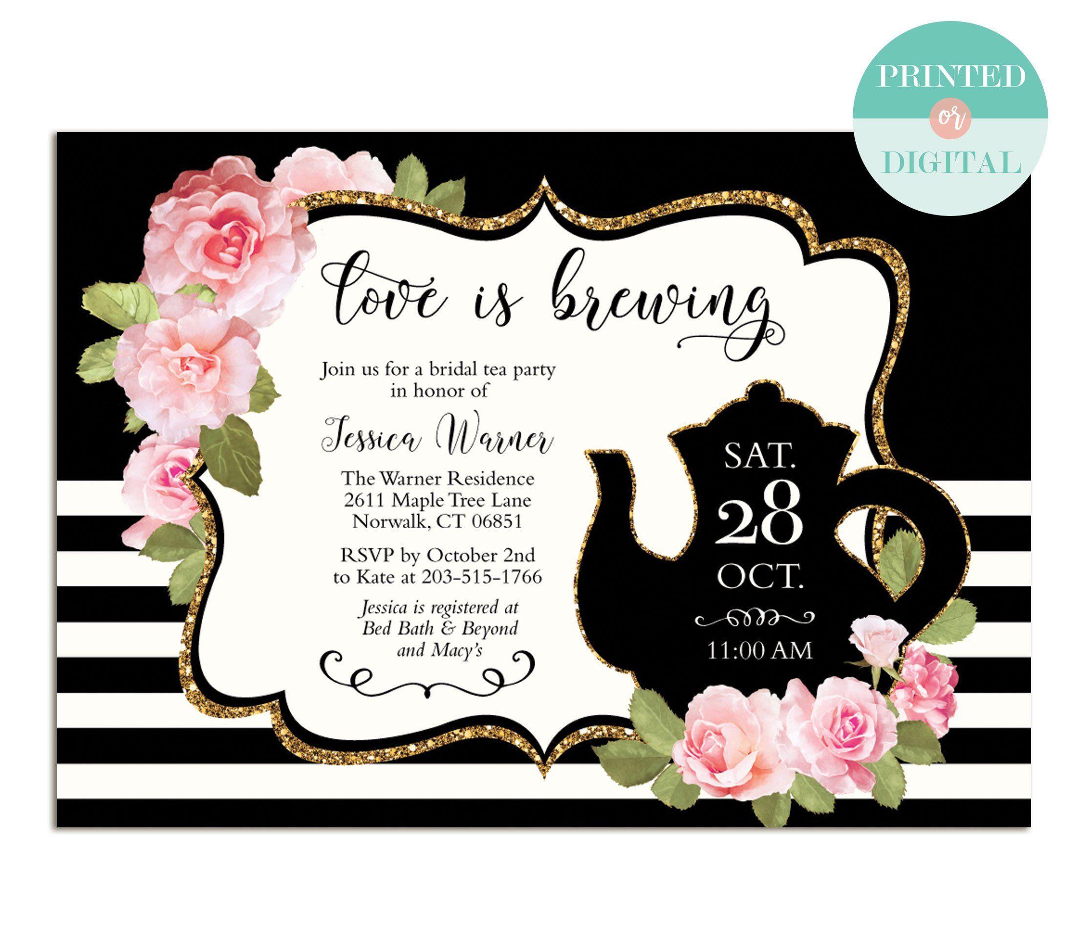 Tea Party Bridal Shower Invitations Floral Black And White Etsy Bridal Tea Invitations Tea Party Bridal Shower Invitations Tea Party Bridal Shower