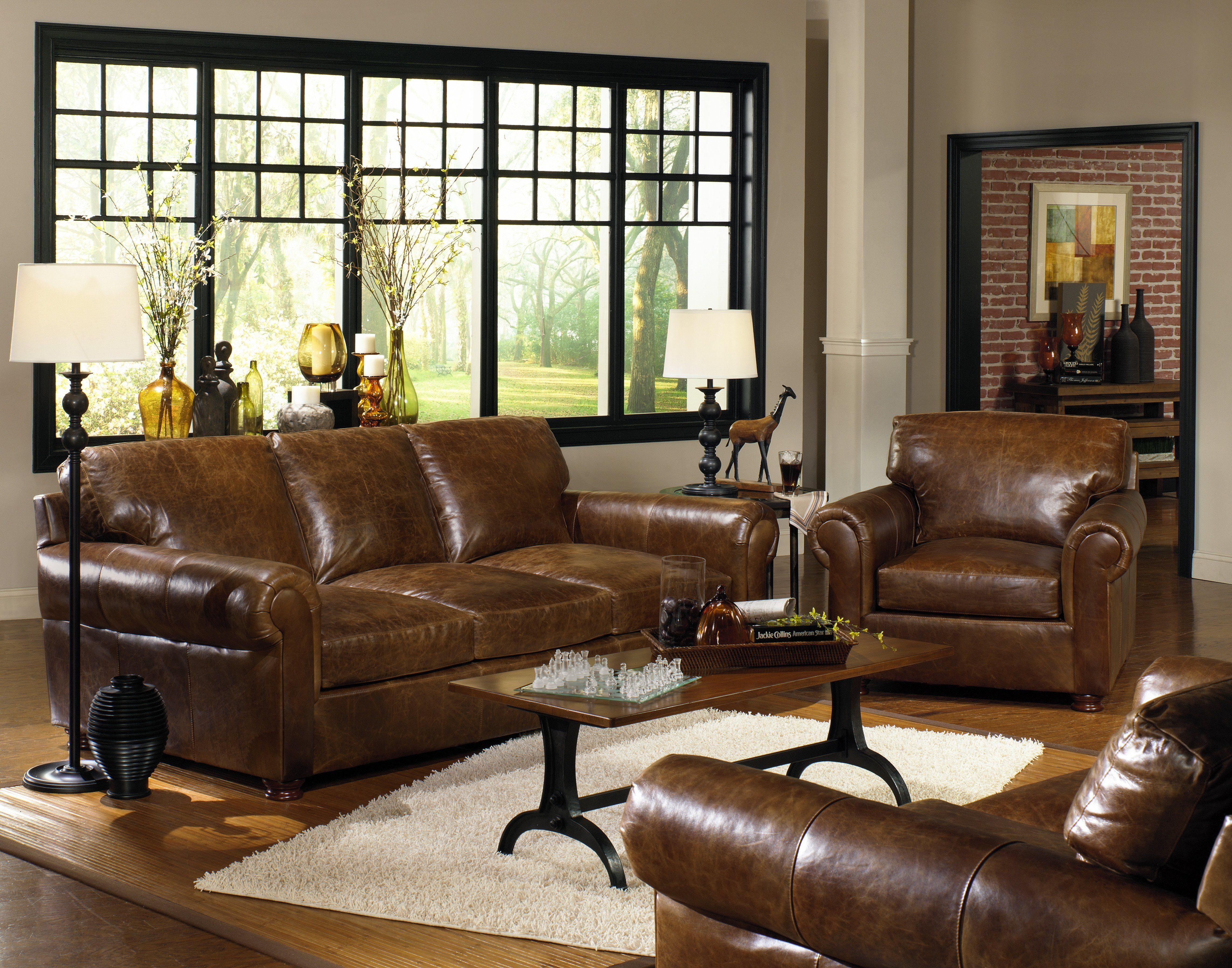 Gorgeous USA Premium Leather couches and chairs in Liberty Cashew