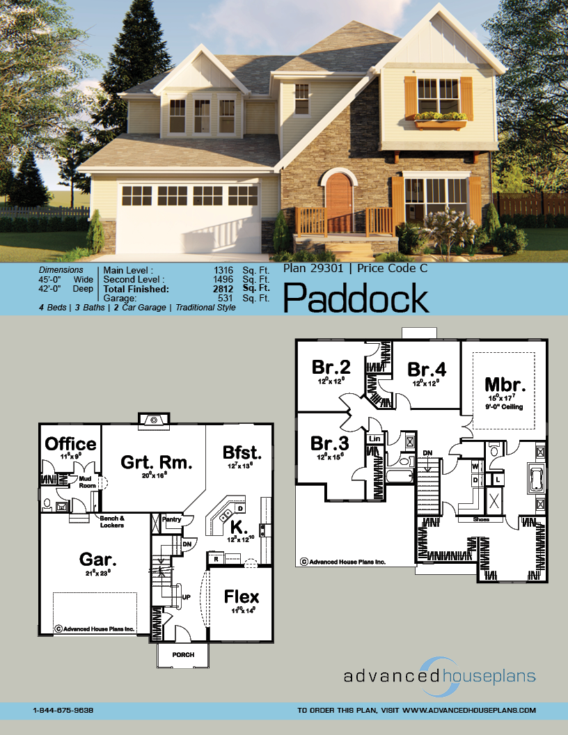 2 Story English Tudor House Plan Paddock House Plans