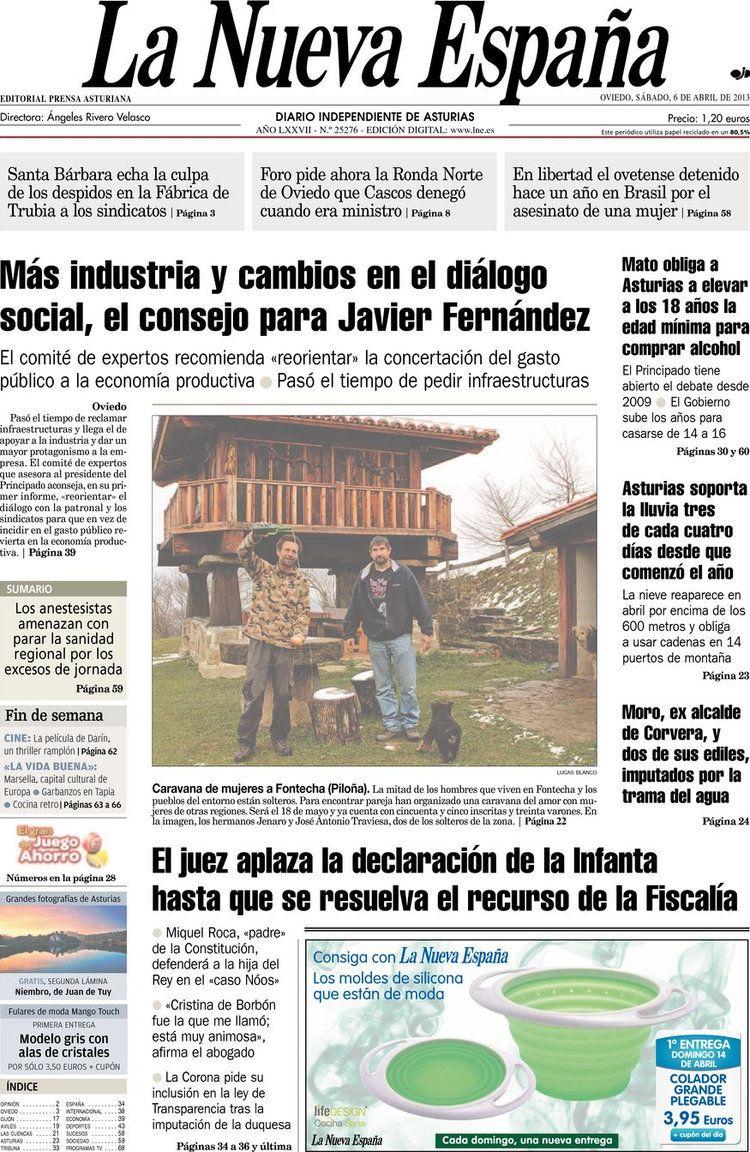 Los Titulares y Portadas de Noticias Destacadas Españolas del 6 de Abril de 2013 del Diario La Nueva España ¿Que le parecio esta Portada de este Diario Español?
