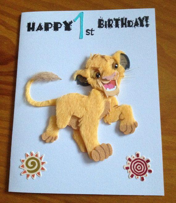 Simba Lion King 1st Birthday Card 1st Birthday Cards Birthday Cards Handmade Birthday Cards