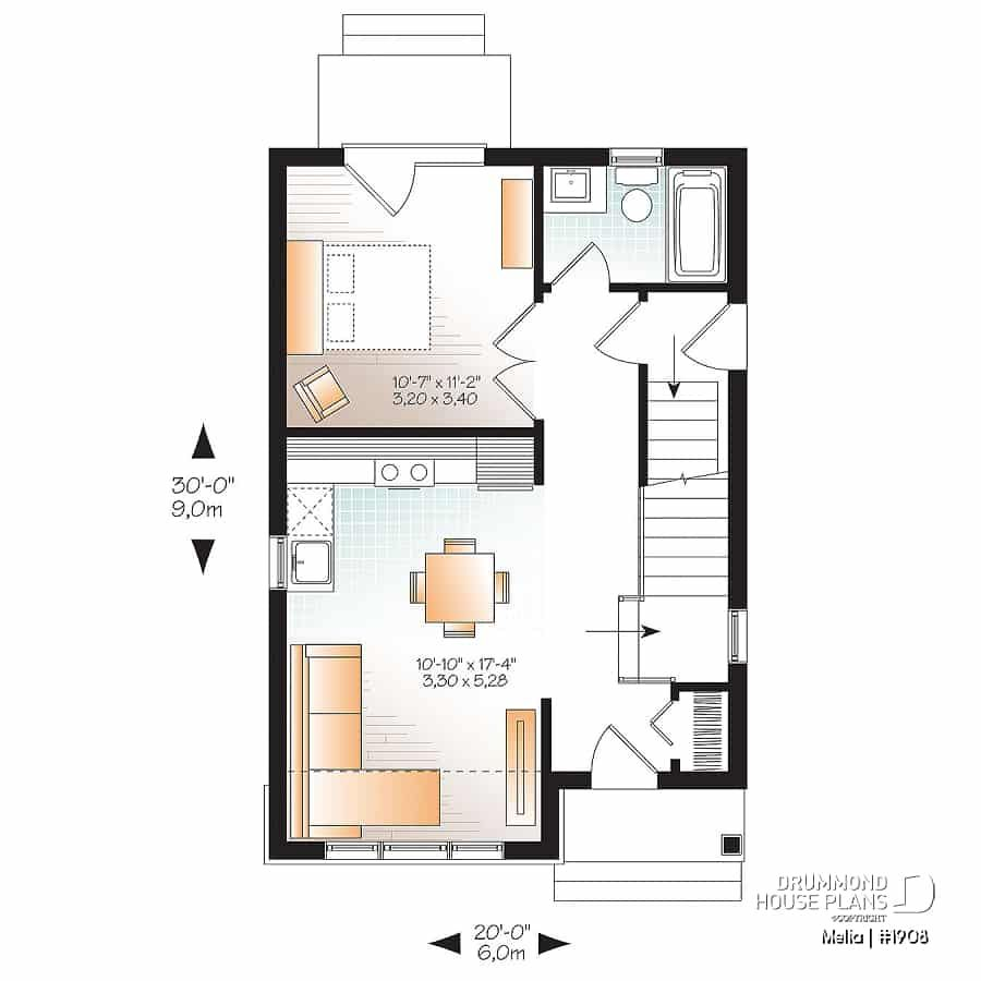 Discover The Plan 1908 Melia Which Will Please You For Its 2 3 Bedrooms And For Its Country Styles House Plans Drummond House Plans Starter Home Plans