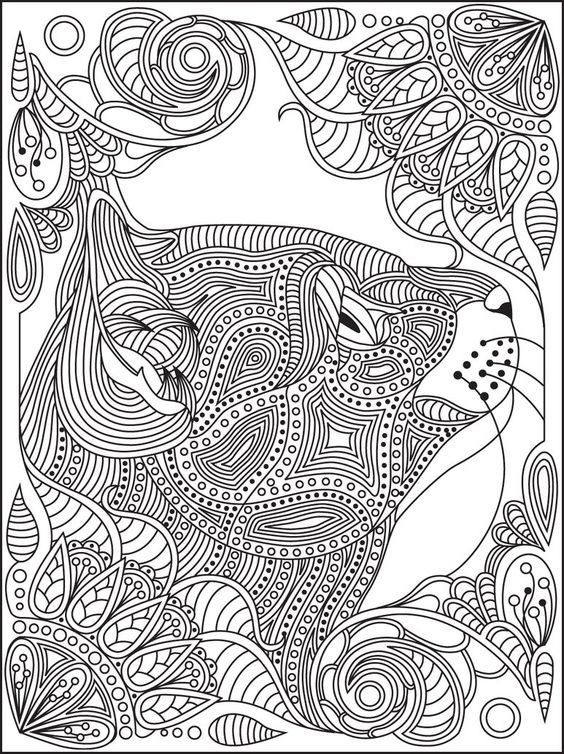 Cat zentangle | Cats + Dogs Coloring Pages for Adults | Pinterest ...