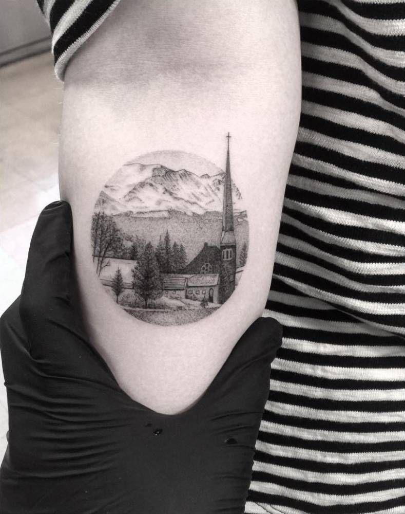 a11927e5c Fine line style landscape circle tattoo of a small town in colorado ...
