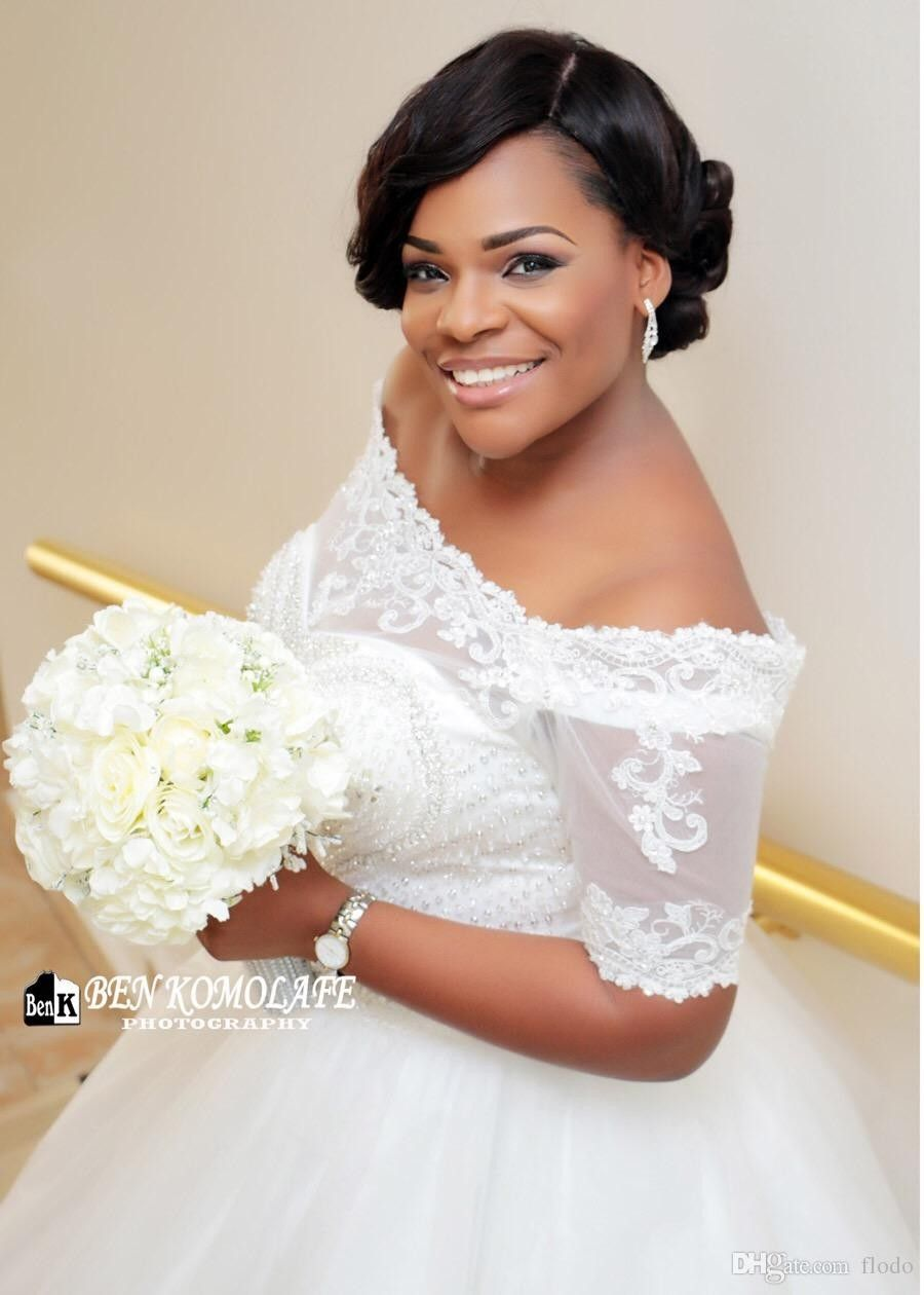 Plus size african wedding dresses  VintageBeadedWhiteLacePlusSizeBallGown